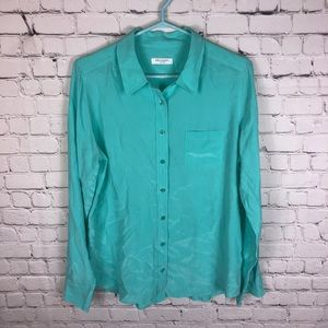 Equipment 100% Silk Brett Blouse Teal Size Large